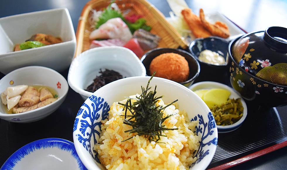 イルカウォッチング + 丸健水産の海鮮ひつまぶし