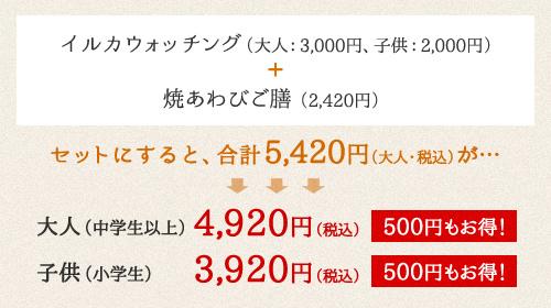 イルカウォッチング(大人:3,000円、子供:2,000円)+丸健の豪快昼飯(1,870円)